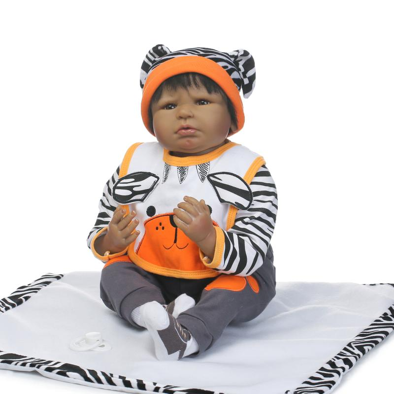 22inch 55cm Silicone Baby Reborn Dolls India African American Baby Doll Hair Bebe Reborn babies Toy for Child Juguetes пластиковые щипцы tony and india sm 22 150mm