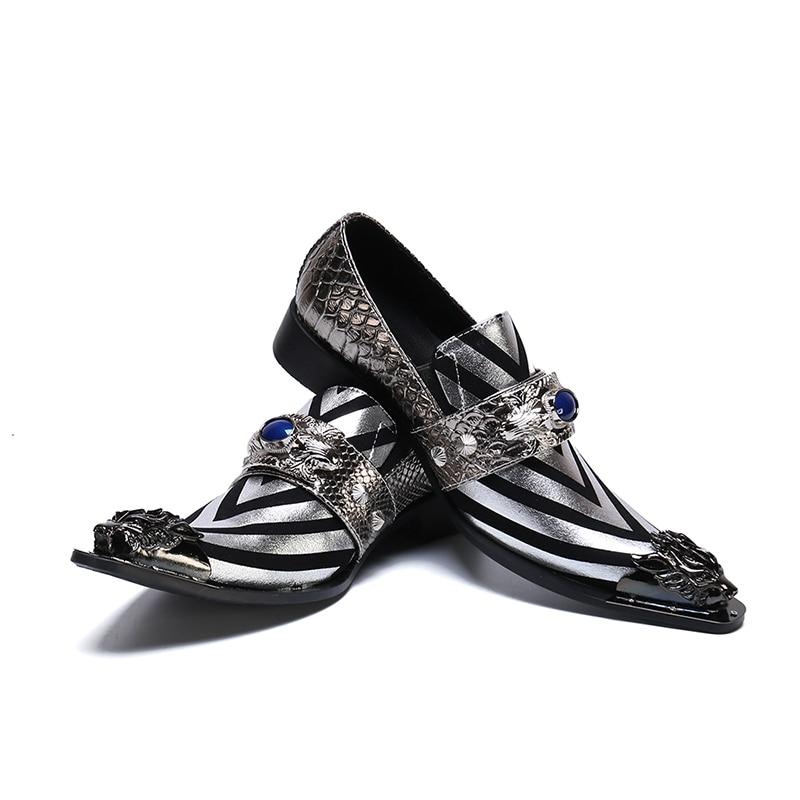 Prata Totem Couro Dos Sapatas Homens Slip Loafers V Negócios Cristal Vestido Listrado Beertola Genuíno on Toe De Metal Apontou Sapatos nzB1gBqwZ
