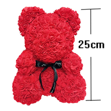 Artificial Flowers 25cm Rose Bear Girlfriend Anniversary Christmas Valentines Day Gift Birthday Present For Wedding Party
