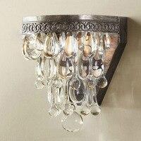 Luxury Waterdrop Crystal Chain LED Wall Lamp American Retro E14 LED Bulb Width26cm Lighting Fixture Sitting Room Balcony Lamp