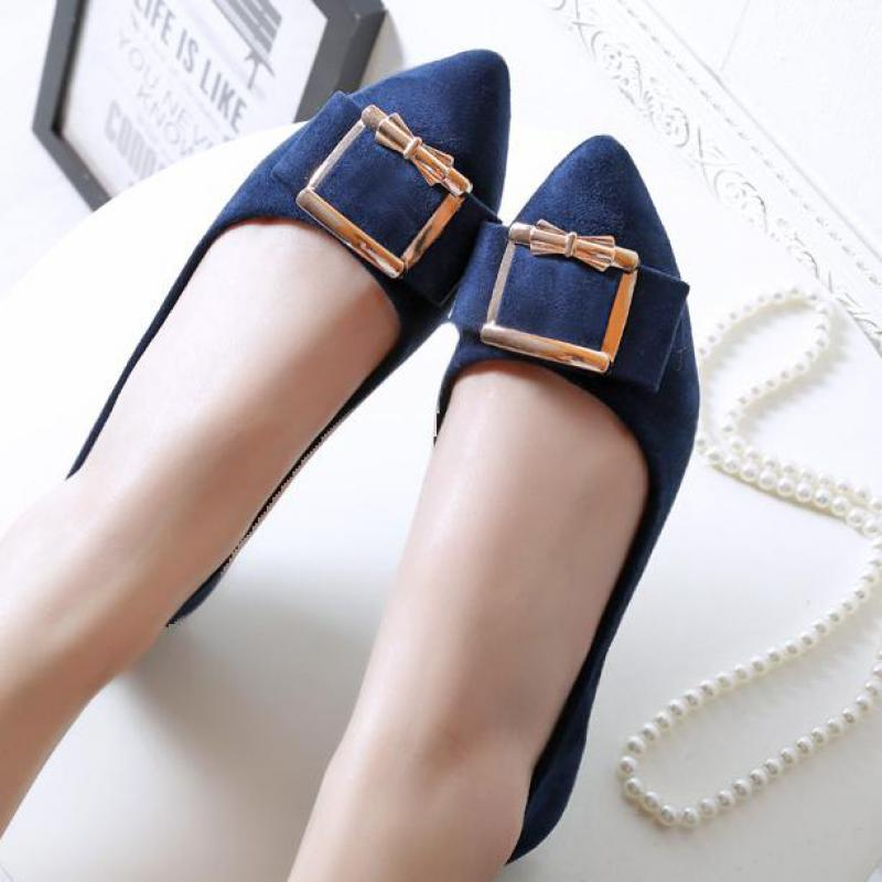 Ladies Ballet Flat Shoes Bow Pointy Toe Lazy Flats Women Fashion Loafers Casual Moccasins Boat Shoes 2018 Spring Plus Size 43 vintage women flats shoes old beijing mary jane ballet shoes peacock casual cloth flat ladies ballet shoes plus size 43
