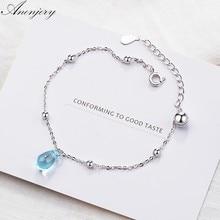 ANENJERY 925 en argent Sterling doux artificiel bleu cristal goutte d'eau Bracelet pour les femmes cadeau pulseira bijoux S-B208