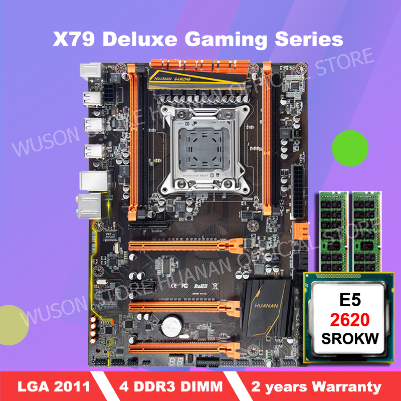 Discount motherboard with M.2 slot brand HUANAN ZHI deluxe X79 motherboard bundle with CPU Intel <font><b>Xeon</b></font> E5 <font><b>2620</b></font> SROKW RAM 8G(2*4G) image