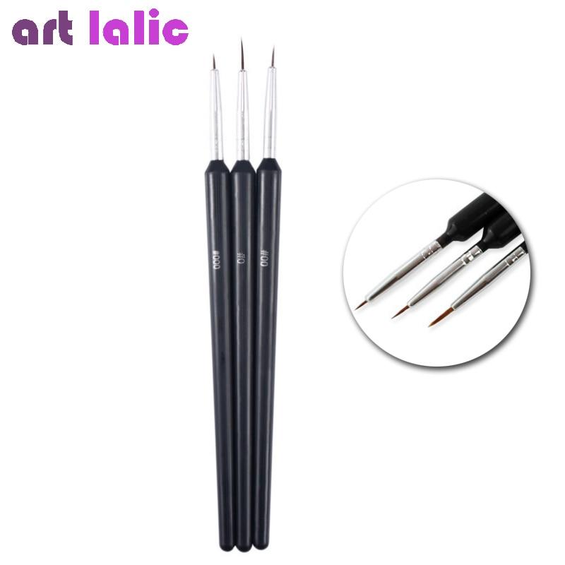 Hot New Fashion 3PCS/1Set Nail Art Tool Thin Nail Brush Black Color Flat Painting Drawing Nail Art Pen Brushes nail art drawing