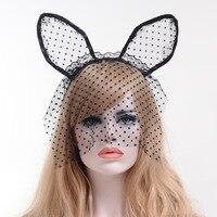 Koronki kobiety grils Hairbands rocznika sexy dot Akcesoria Nakrycia Głowy Pałąk Floral cat ear pałąk kobiet holloween YZ01