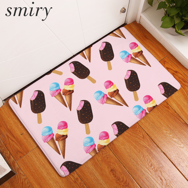Smiry 40*60cm flannel in front of door mats colorful cool summer ice cream mats dustproof bedroom bedside foot pads home decor