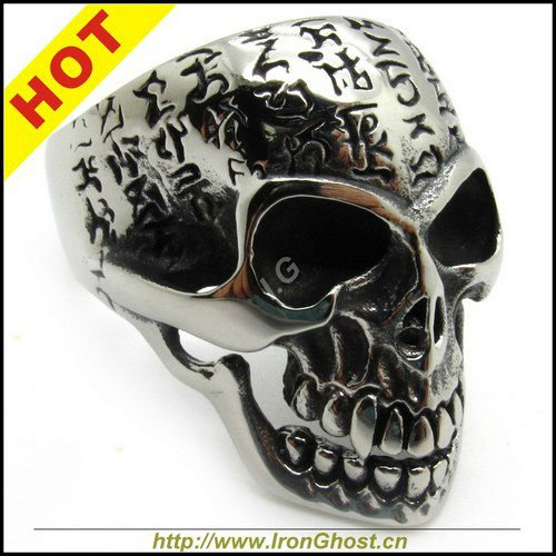 ironsoul Store Men's Silver Lection Finger Stainless Steel Bible OX Skull Ring New Gift Wholesale USA Size 8-14