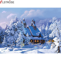 Housing Snow In Winter Canvas Oil Painting DIY Hand Painted Picture By Numbers For Home Decor