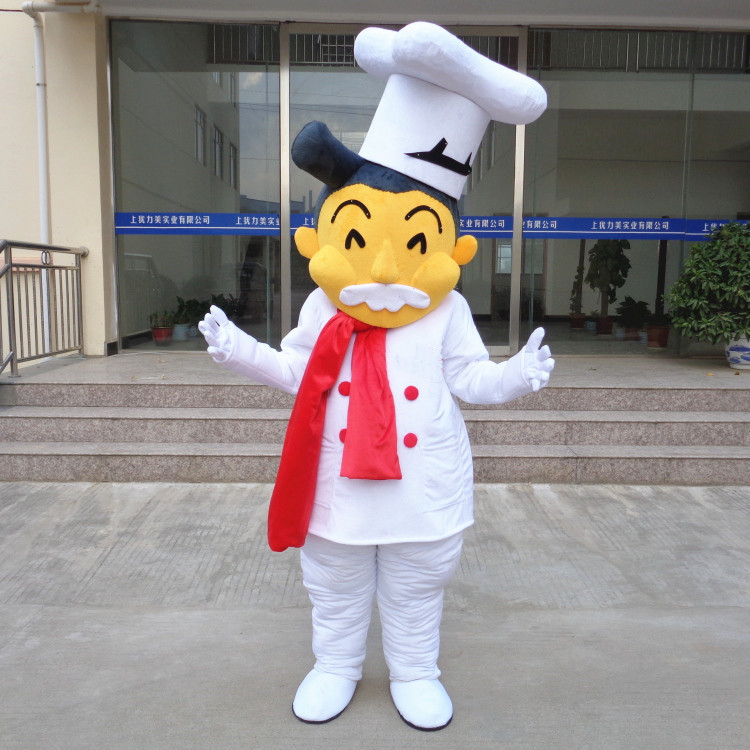 Cook Chef Baker Mascot Costume Adult Cartoon Character Outfit Suit Supermarket Ceremonial Event Can Add Logo