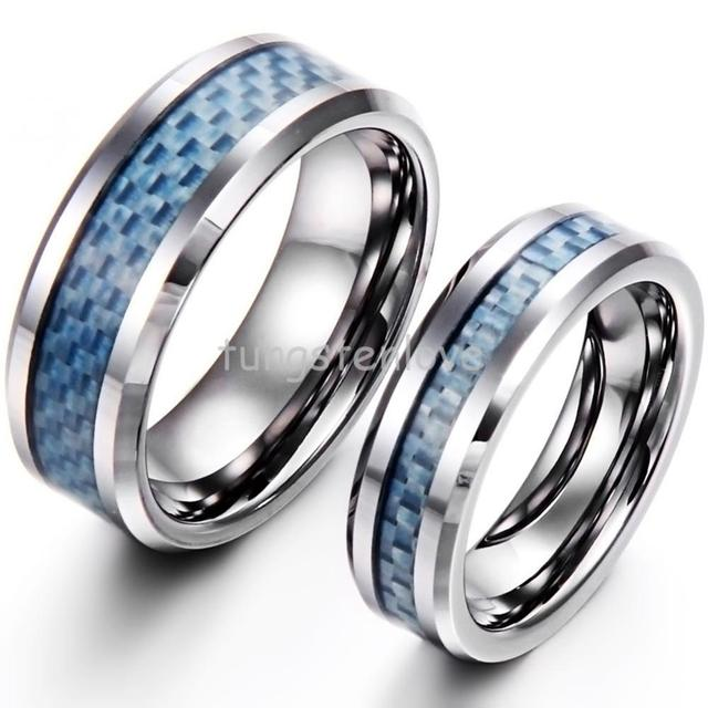 Fashion Blue Carbon Fiber Inlay Hand Woven Tungsten Carbide Wedding Rings  For Womens Mens