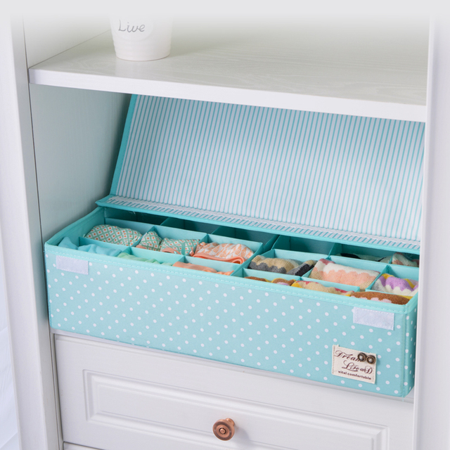 24 Grid Clothing Organizer For Underwear Storage Box For Bra Socks Organizer Knickers Organizer With Cover Clothes Cases Holder