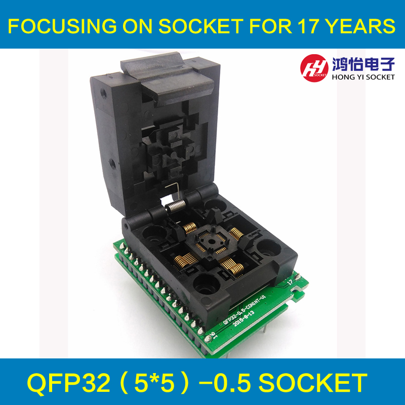 QFP32 TQFP32 LQFP32 Double Board IC51- 0324-805 Pitch 0.5mm Clamshell Programming Socket Size 5*5 Adapter Plugs SMT Test Socket ic qfp32 programming block sa636 block burning test socket adapter convert