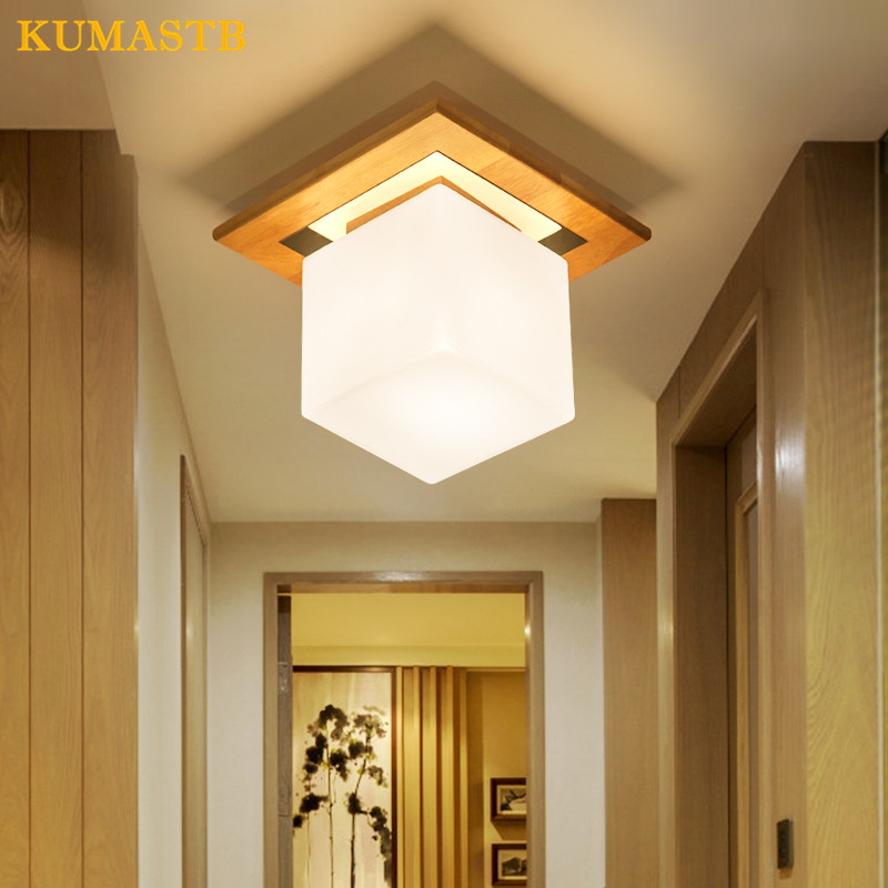 Wood Glass Lampshade LED Ceiling Light Fxitrue Home Indoor Lighting Modern Square Study Balcony Porch Aisle Ceiling Lamp simple style ceiling light wooden porch lamp square ceiling lamp modern single head decorative lamp for balcony corridor study