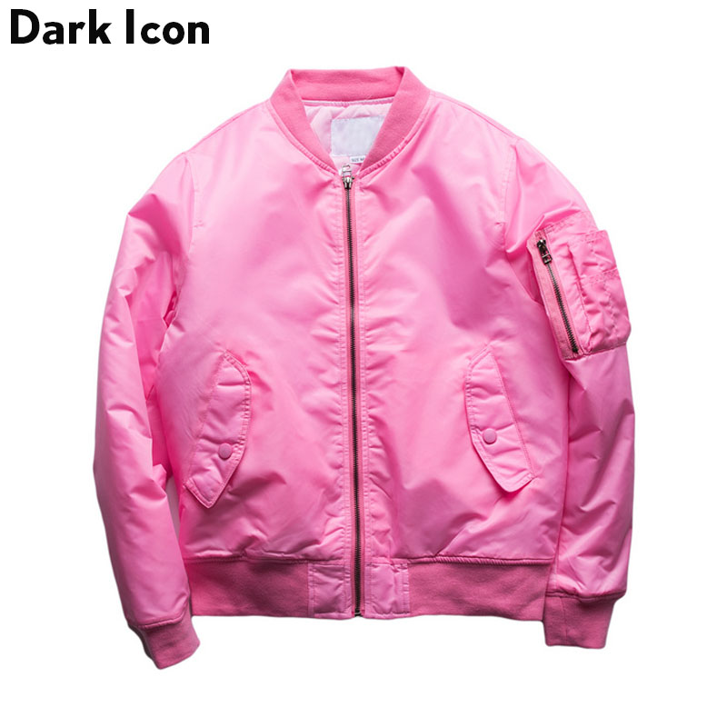 Pink Bomber Jacket Men Women 2017Spring Street Thin Style Solid Color Blank Hip Hop Jackets Mens Clothes Kanye West Plus Size