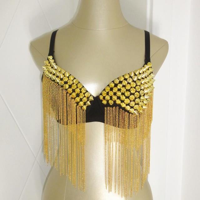 Moda Bling bebé ds cantante traje corseletes bikini cadenas de plata del remache del oro cubierta del sujetador de la borla del club nocturno de jazz desgaste de la danza