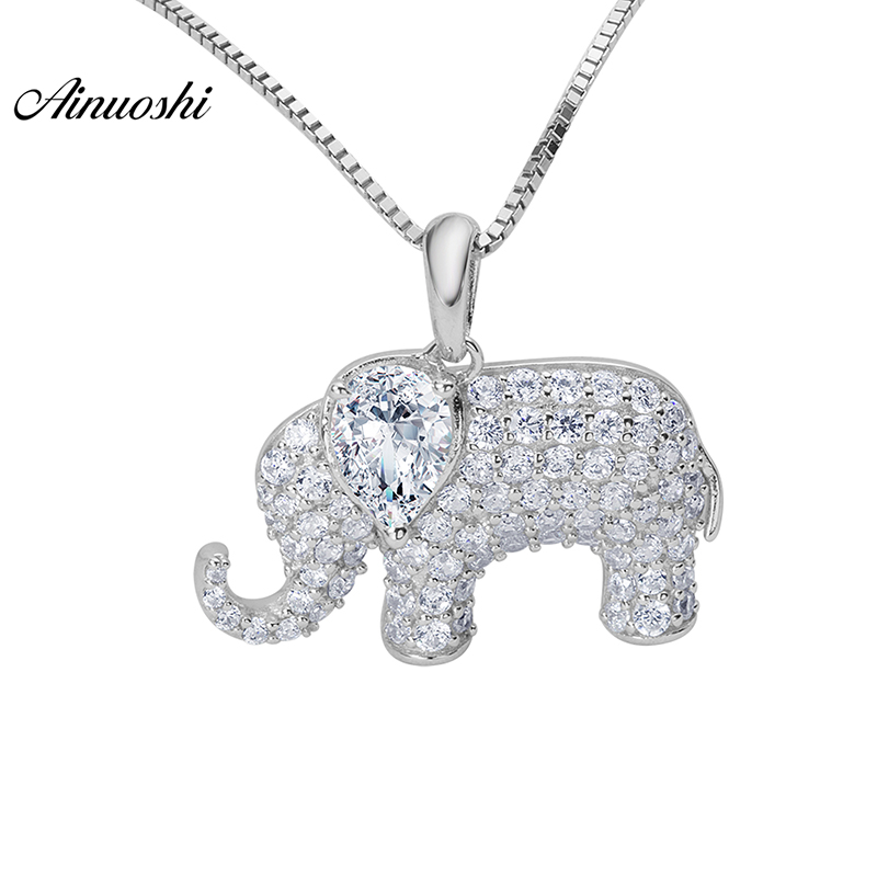 AINOUSHI 925 Sterling Silver Necklace Jewelry White Color Animal Elephant Pendant Silver Cute Necklace For Women Girls Gifts joyashiny made with swarovski element crystals angel pendant necklace cute silver color wing jewelry chic gifts for kids girls