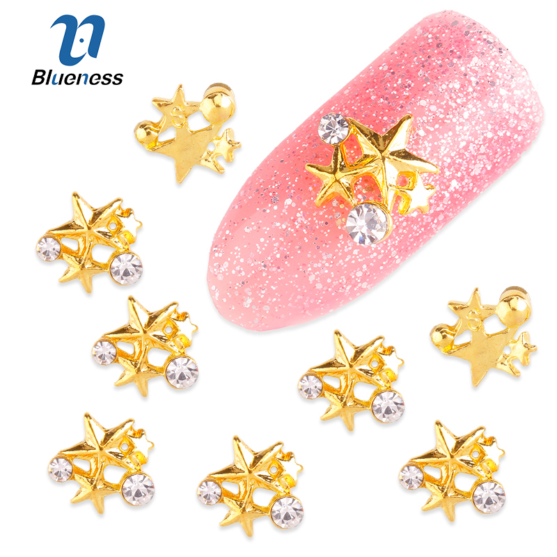 10Pcs/Lot Gold Alloy 3 Pentacle Diy Rhinestones Decorations For Nails Charms 3D Five-pointed Star Nail Art Studs Supplies TN1647 charms 3d nail art decorations stud glitter gold silver caviar micro beads diy jewelry design supplies nails accessories