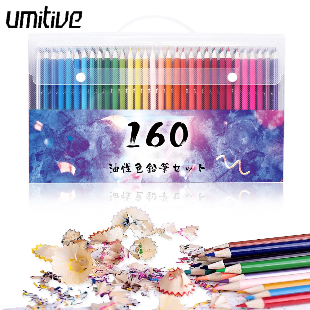 Umitive 160 Colors Artist Painting Color Pencil Set For Adult Coloring Books Art Drawing Sketch Supplies