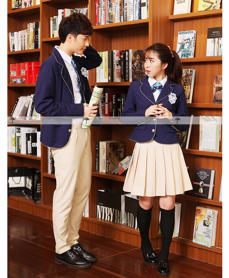 08bd1cd3a88ce Uniforme escolar japonés británico para niñas y niños alta calidad invierno  Senior high school Cardigan falda a cuadros chándal 5 sets