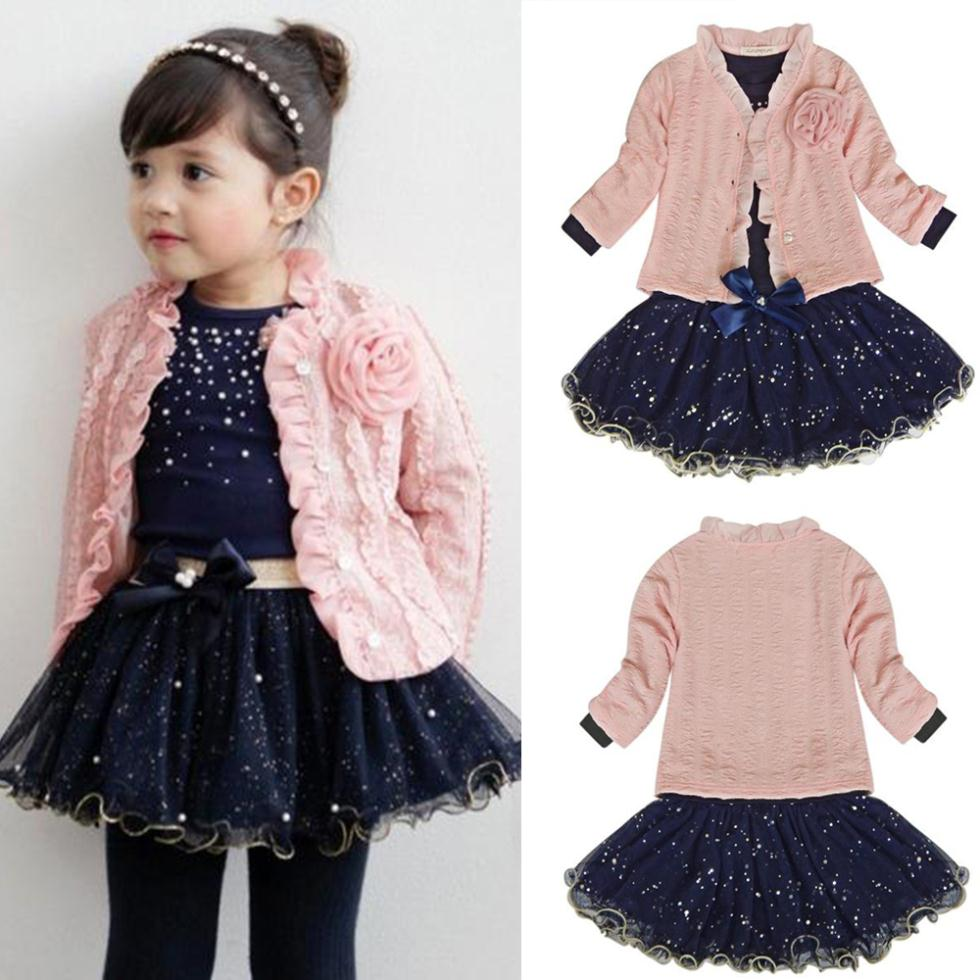 Free ship 3pcs Infant Toddler Girl Coat+T-shirt+Skirt Dress Tutu Set Baby Kid Princess Dresses Child Outfits Children Party Suit two pieces kid girl clothing set flower t shirt tutu skirt children summer set for 2 12 girls outfits party prom