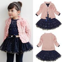 Baby Girls Coat+T-shirt+Skirt Dress Tutu Party Set Suit Pink Clothes