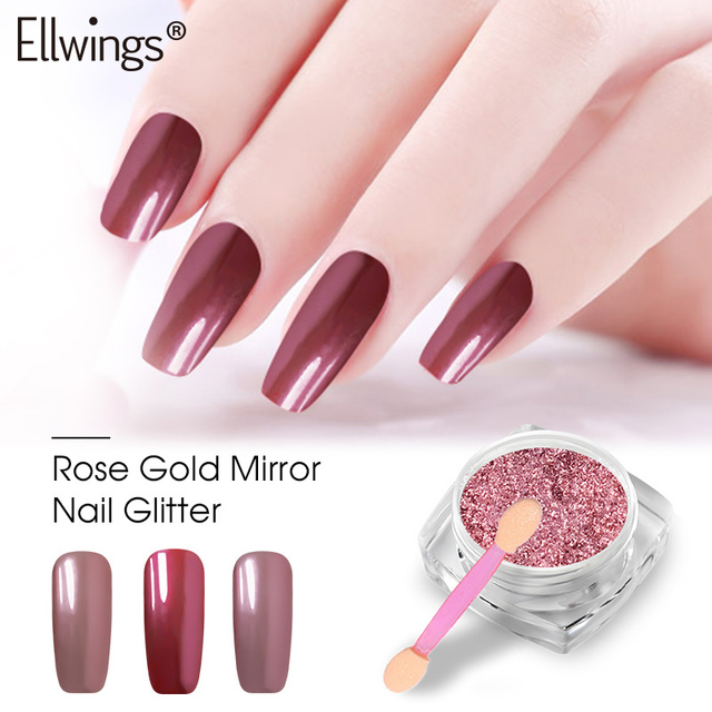 Ellwings Glitter Rose Gold Mirror Powder Shining Gel Nail Glitter ...