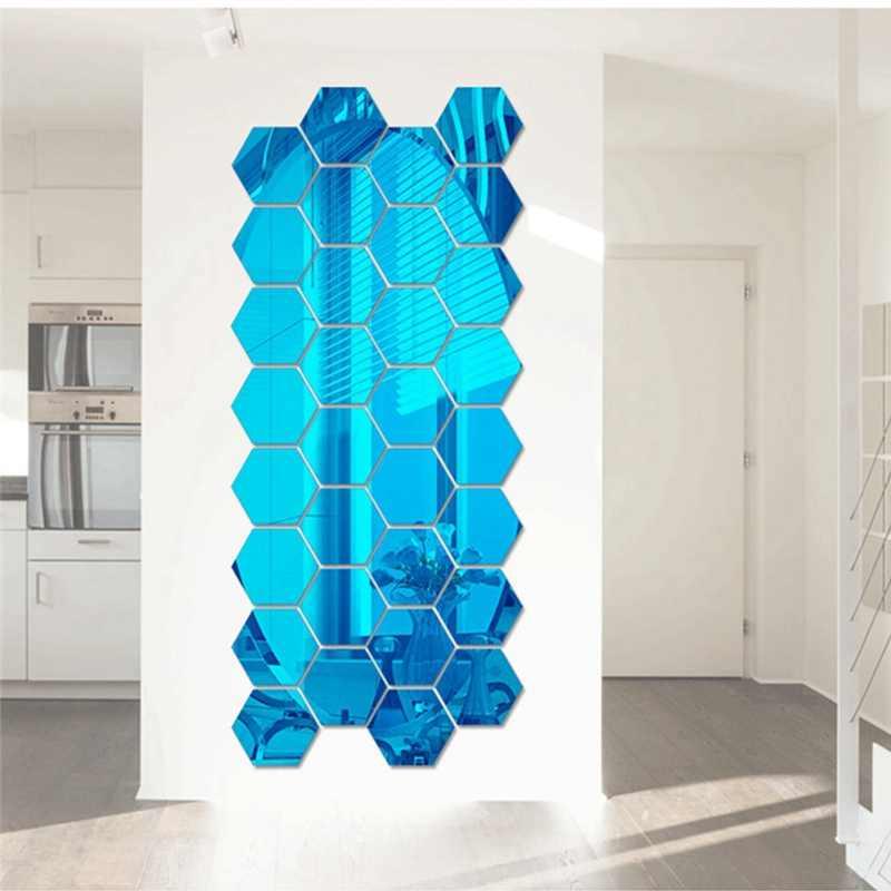 12 шт 3D зеркальные настенные наклейки, акриловые обои для ТВ комнаты ванной, DIY съемные настенные наклейки s шестигранные геометрические наклейки s 4,6*4,2