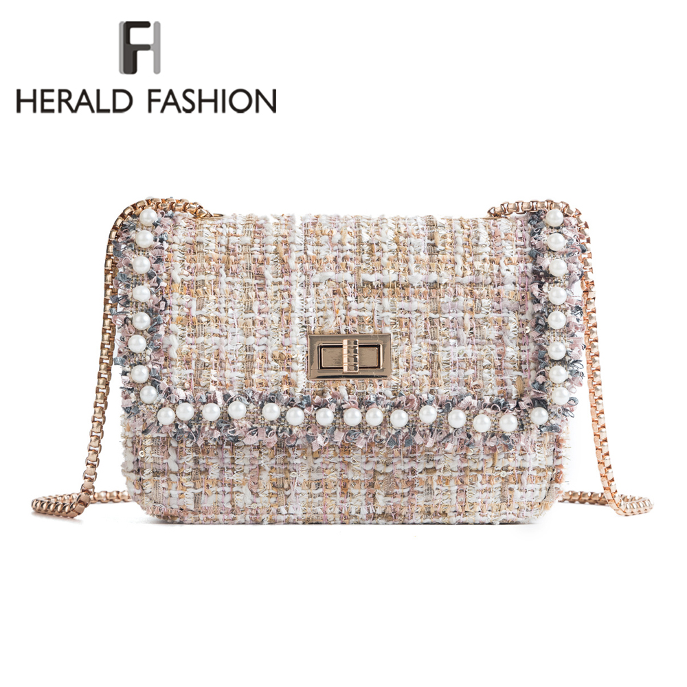 Herald Fashion High Quality Wool Women Messenger Bags With Pearls Female Chain Shoulder Bags Ladies' Casual Flap Crossbody Bags free shipping imitation pearls chain flatback resin material half pearls chain many styles to choose one roll per lot