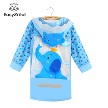 Raincoat Boys Children's Poncho Girls with Schoolbag-Bit Thicker Gifts Funny Student