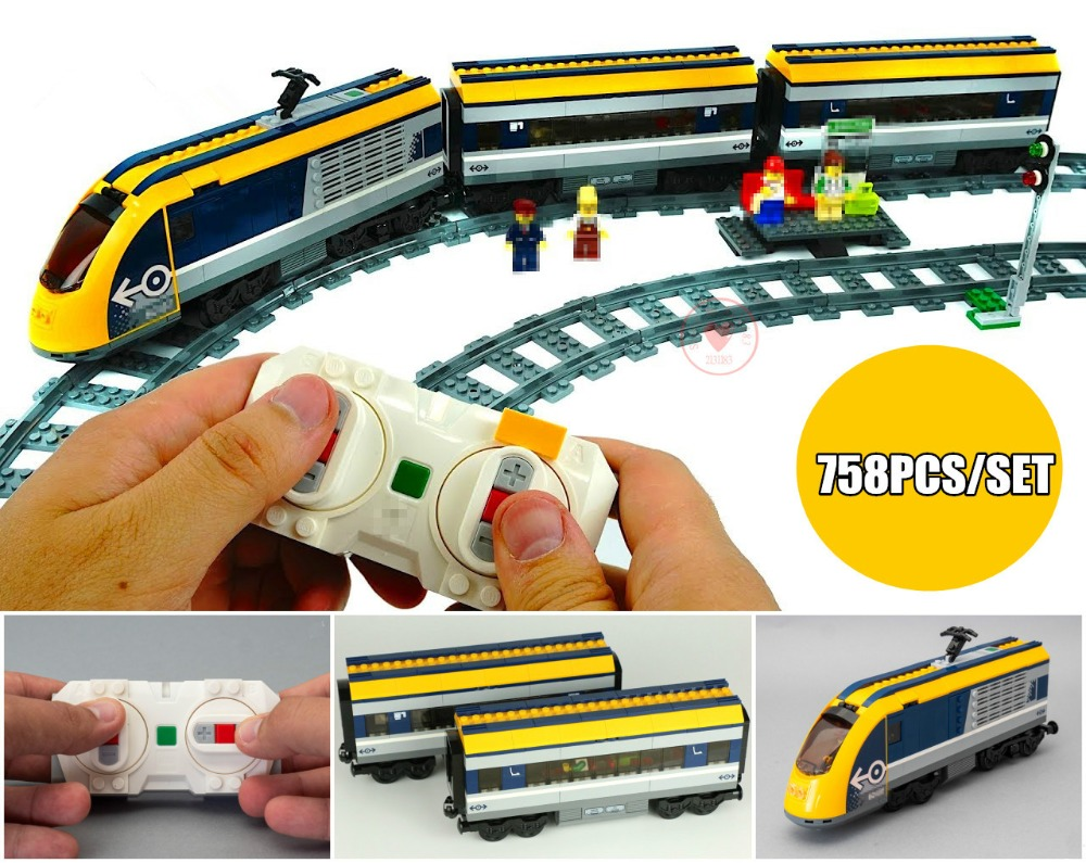 New City RC car Passenger Train station Sets fit legoings technic city figures Model Building Blocks 60197 diy Toy Gift kid 407pcs sets city police station building blocks bricks educational boys diy toys birthday brinquedos christmas gift toy