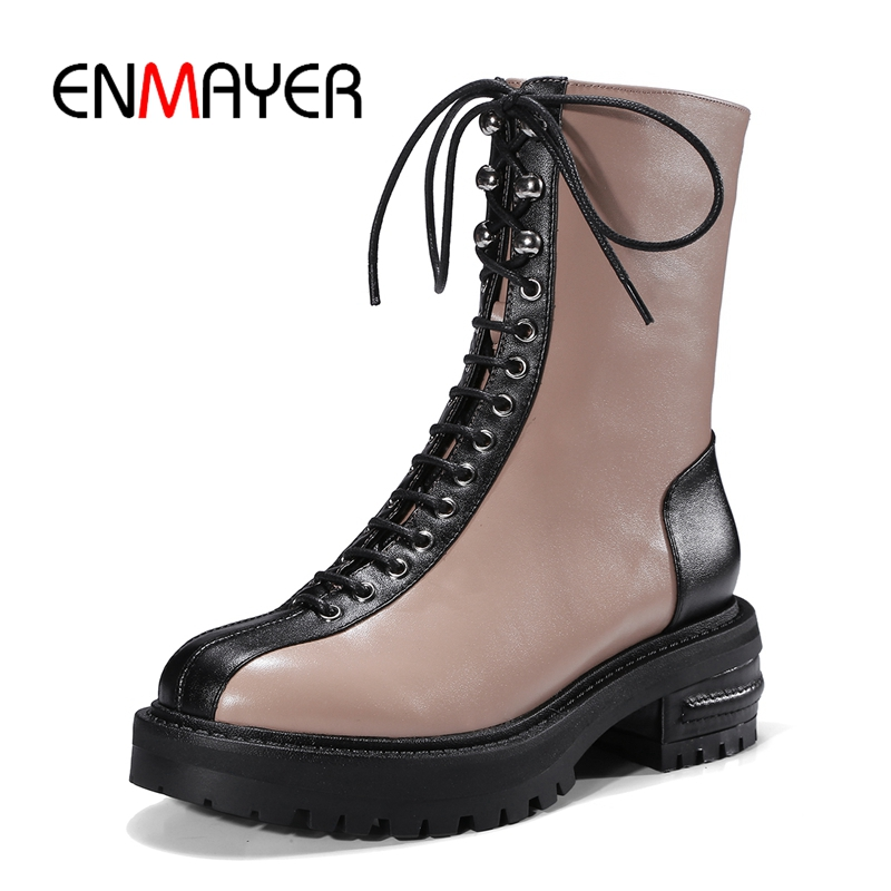 цена на ENMAYER New Arrival top quality cow leather women round toe mixed colors zip marten boots lady cross-tied boots ZYL804