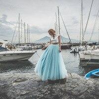 Sky Blue Floor Length Tulle Skirt Customized 50s Long Ball Gown Prom Party Skirt Puffy Tulle Bridesmaid Skirt for Wedding