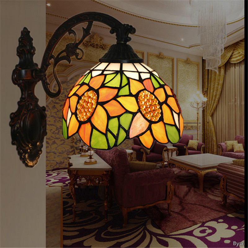 Tiffany wall lamp, Baroque wall lamp ,20cm sunflower wall mounted tiffany light for balcony,bedroom, corridor TEN-W-012 tiffany baroque sunflower stained glass iron mermaid wall lamp indoor bedside lamps wall lights for home ac 110v 220v e27