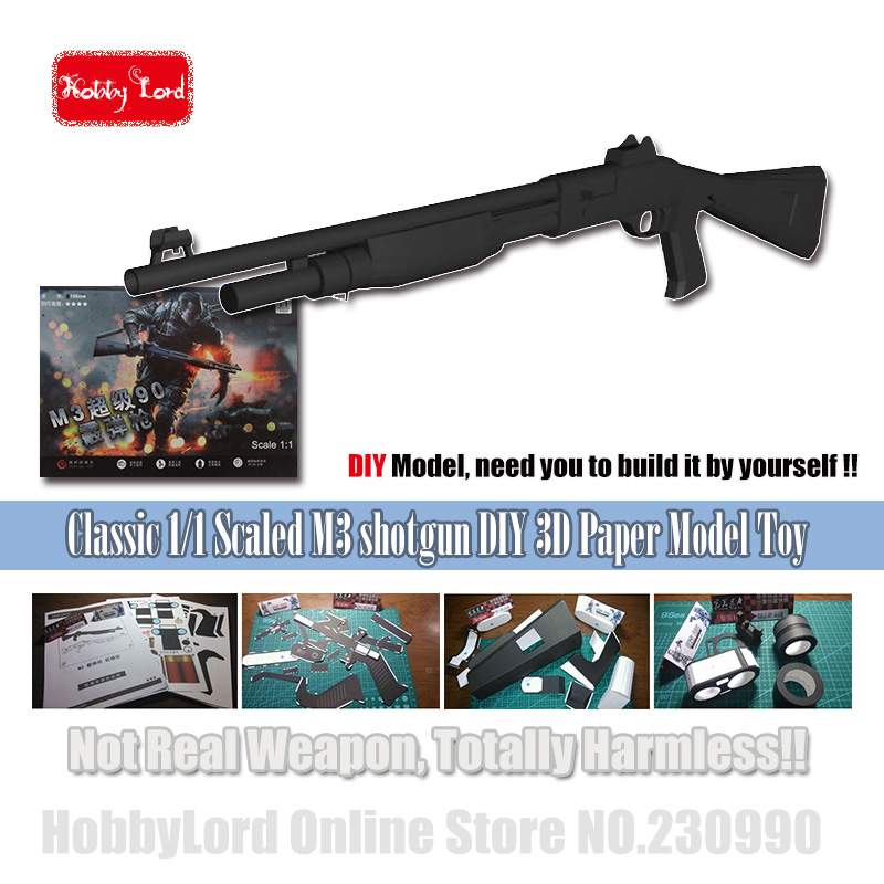 Classic SWAT M3 Shotgun Paper Model Toy Gun Draw Pages 3d Diy Military Paper Puzzle 3D Paper Model Kid Adults' Cosplay Props Toy