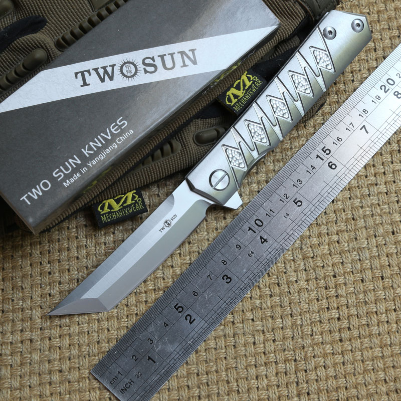 TWO SUN TS202 Tactical Flipper ball brearing folding knife D2 blade titanium camping Pocket knives outdoor Survival EDC Tools two sun ts38 d2 blade tactical ball brearing folding knife titanium camping hunting pocket knives outdoor survival edc tools