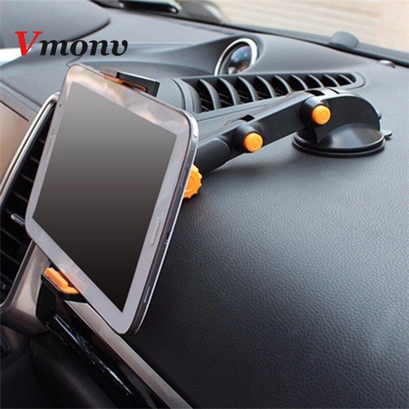 Vmonv Tablet/telefon stojak na ipad Air Mini 1 2 3 4-11 Cal silne ssanie uchwyt samochodowy do tabletu stojak na ipad iPhone X 8 7 Tablet PC