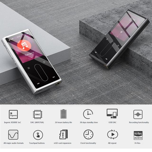 FIIO M3K Mini HIFI Hi-Res Lossless Portable Music Player MP3 AK4376A DAC chips High-fidelity recording 24hours Battery Life