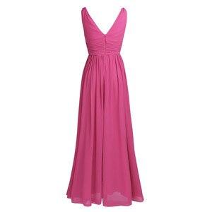 Image 4 - TiaoBug New Arrival sukienki na specjalne okazje V Neck eleganckie 2020 kobiety panie druhna księżniczka szyfonowe, letnie sukienki długie
