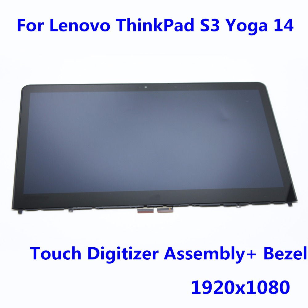 1920x1080 Full LCD Screen Display Assembly Touch Digitizer Panel Replacement for Lenovo ThinkPad S3 Yoga 14 20FY0002US + BEZEL original new 14 inch lcd screen display with touch panel digitizer replacement part for lenovo yoga 5 pro lcd assembly yoga 910