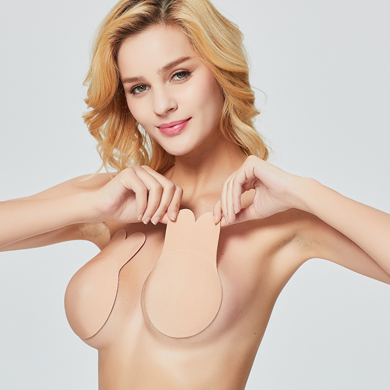 Summer Sexy Female Self Adhesive Push Up Bra Crop   Top   Solid Silicone Nipple Cover Stickers Sexy Halter Strapless   Tank     Top   Lady