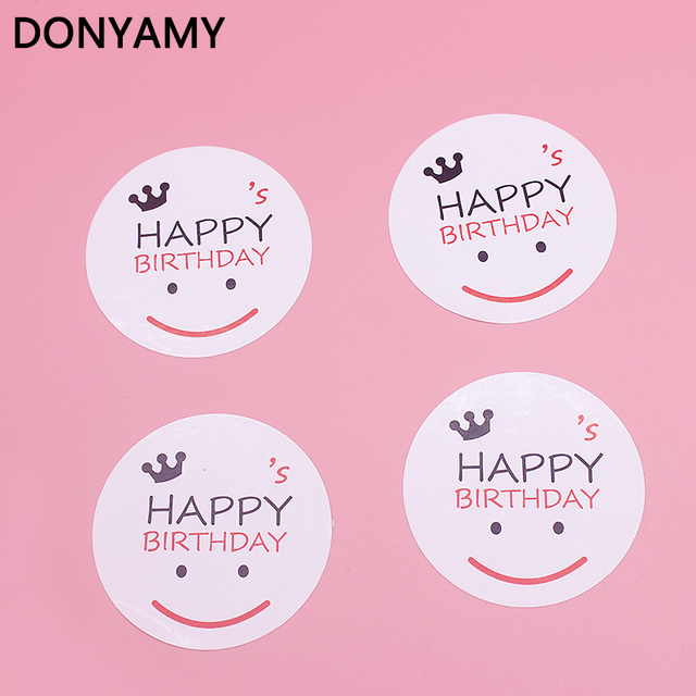 60 Pcs White Smile Happy Birthday Sticker Labels Food Seals Gift Stickers For Party