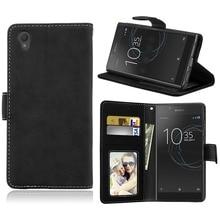 Retro Scrub Çevirme Kılıf Sony Xperia L1 Için PU Deri Cüzdan Kart Yuvası Fisyon telefon Kılıfı Lüks Telefonu Çanta
