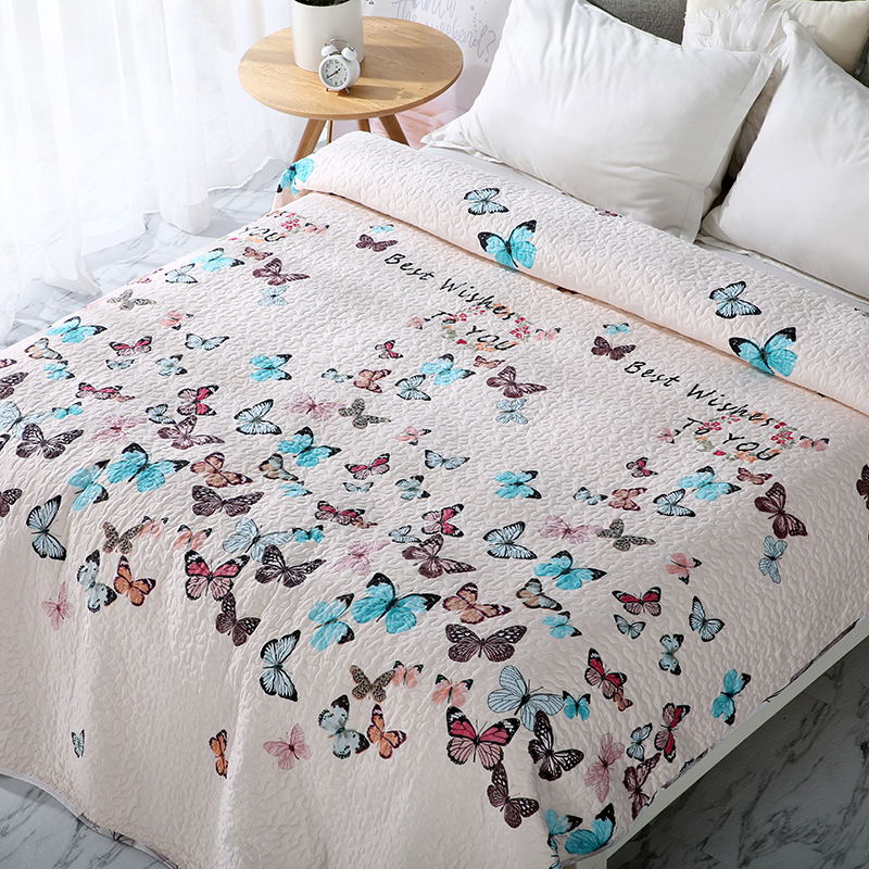 Multicolored butterfly Printed elegant European Soft summer blanket quilted coverlet bedspread quilt summer Duvet sw