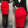 Peplum Falda Office Lady Faldas de Volantes Para Mujer Sexy Hasta La Rodilla Faldas Lápiz Ruffles Hendidura Falda Negro Rojo Más El Tamaño S-3XL 4XL 5XL