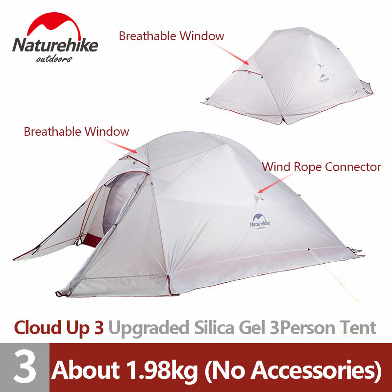 Naturehike Tent Upgrade CloudUp Series 3 Persons 20D Silicone Double layer Aluminum Pole Ultralight Camping Tent