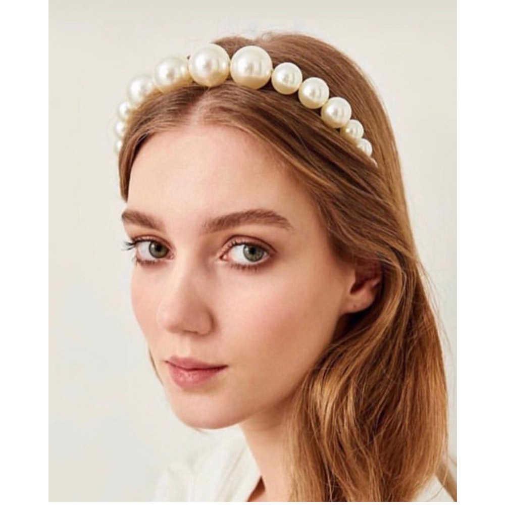 Женская повязка на голову с белыми жемчужинами и ушками медведя, элегантные волосы для девочек, модные аксессуары для волос
