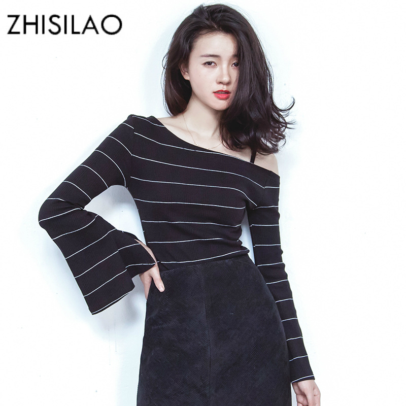 ZHISILAO Long Sleeve t shirt Women Off Shoulder Stripe Shirt Vintage Black tshirt Feminina 2018 Cotton Tee Shirt Femme Harajuku