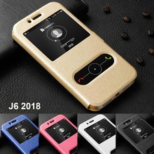 For Samsung Galaxy J6 case 2018 SM-J600F cover Ultra Thin dual window stand leather case for Samsung Galaxy J6 2018 flip cover