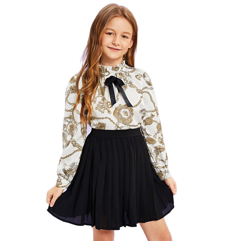048a6ef858 SHEIN Matching Family Outfits Girls Bow Mock Neck Mixed Print Blouse Top  Spring Girls Vintage Ruffle Stand Collar Blouses
