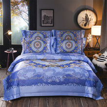 Europe Style 100%Egyptian cotton Digital printing luxury Bedding Set 4Pcs King Queen Size Bed Sheet set Duvet cover Pillowcases